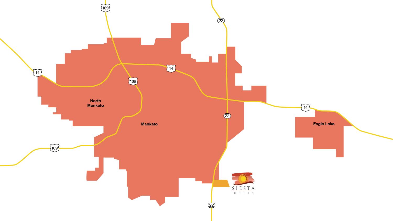 Siesta Hills Mankato Location Map